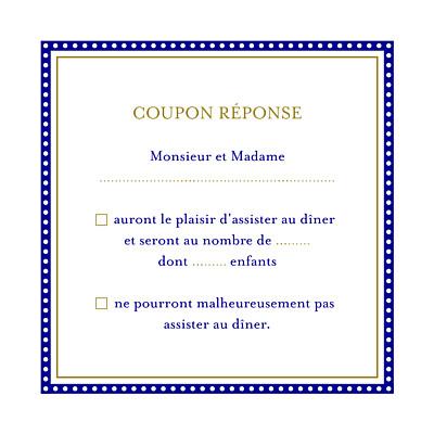 Carton réponse mariage Byzance bleu finition