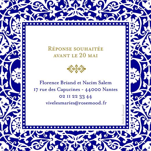 Carton réponse mariage Byzance bleu - Page 2