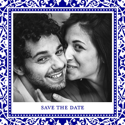 Save the Date Byzance photo bleu finition
