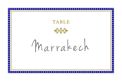 Marque-table mariage Byzance bleu finition