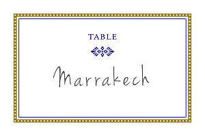 Marque-table mariage marron byzance doré
