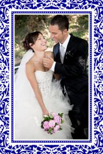 Carte de remerciement mariage Byzance photo bleu