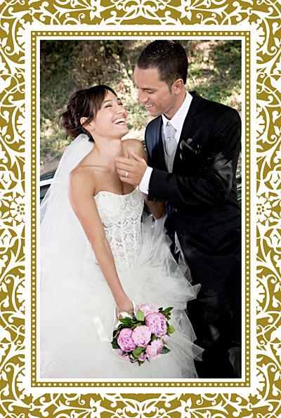 Carte de remerciement mariage Byzance photo doré finition