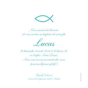 Faire-part de baptême marin poisson photo bleu
