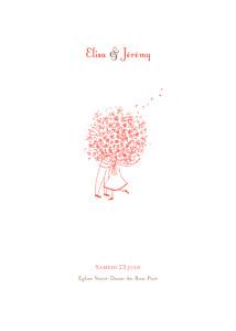 Livret de messe mariage rose bouquet corail