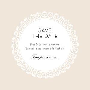 Save the Date Boudoir dentelle photo beige blanc