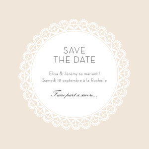 Save the Date Boudoir dentelle photo beige blanc