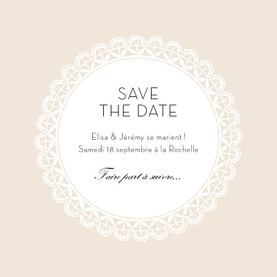 Save the Date Boudoir dentelle photo beige blanc finition
