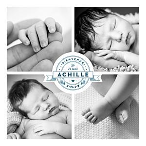 Faire-part de naissance Logo 4 photos bleu