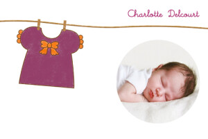 Carte de remerciement Petite blouse photo prune & orange