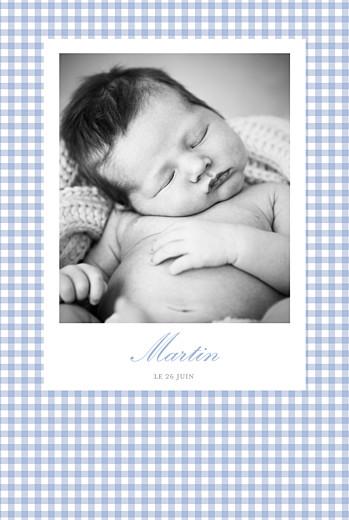 Faire-part de naissance Vichy photo portrait bleu