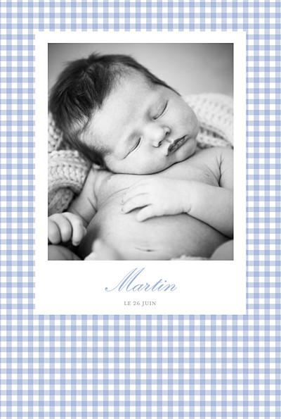 Faire-part de naissance Vichy photo portrait bleu finition
