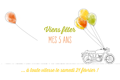 Carte d'anniversaire Moto photo orange & vert finition