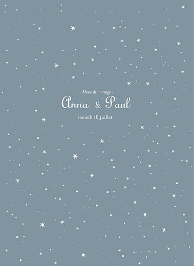 Livret de messe mariage Étoile gris bleu