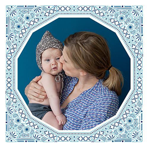 Faire-part de naissance Nomade photo bleu