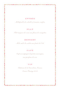 Menu de baptême Poisson liberty (4 pages) rose