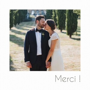 Carte de remerciement mariage Petit polaroid (3 photos) blanc