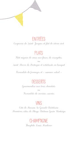 Menu de mariage Guinguette (4 pages) pop