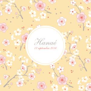 Faire-part de naissance Cerisiers en fleurs jaune