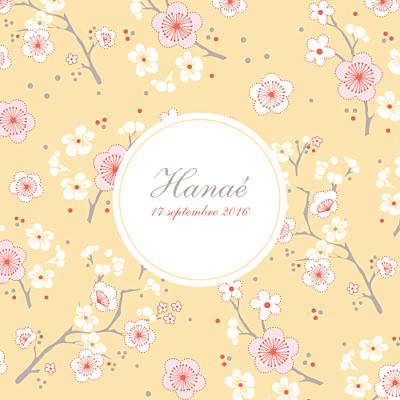 Faire-part de naissance Cerisiers en fleurs jaune finition