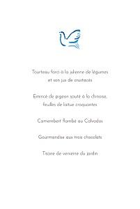 Menu de baptême Colombes bleu