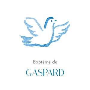 Etiquette de baptême animaux colombes (carré) bleu