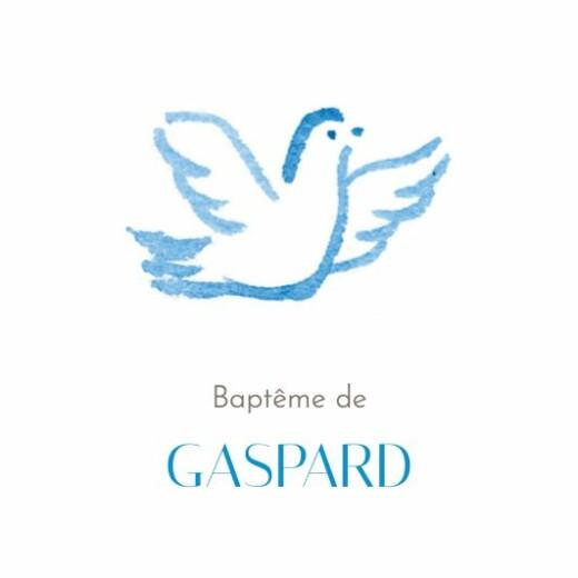 Etiquette de baptême Colombes (carré) bleu