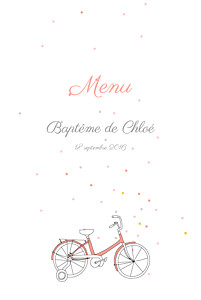 Menu de baptême À bicyclette (4 pages) corail