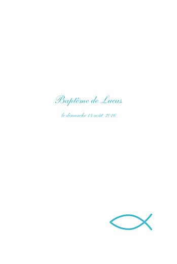 Menu de baptême Poisson bleu