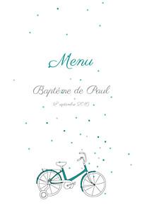 Menu de baptême my lovely thing  à bicyclette (4 pages) vert