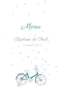 Menu de baptême À bicyclette (4 pages) vert