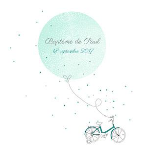 Faire-part de baptême À bicyclette vert