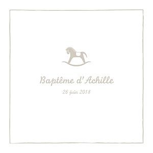 Faire-part de baptême animaux petit cheval beige