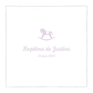 Faire-part de baptême violet petit cheval parme