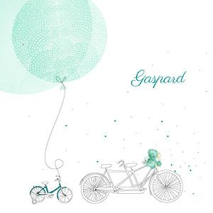Faire-part de naissance À bicyclette (1 enfant) vert