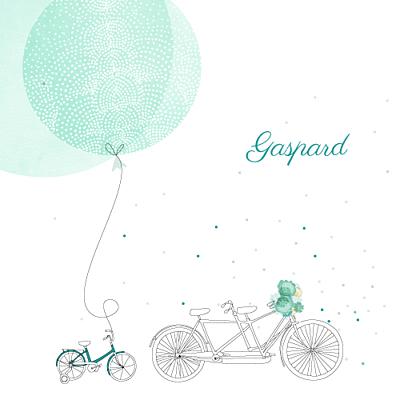 Faire-part de naissance À bicyclette (1 enfant) vert finition