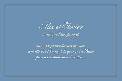Carton d'invitation mariage Grand chic liseré bleu