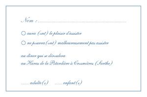 Carton réponse mariage Grand chic liseré bleu