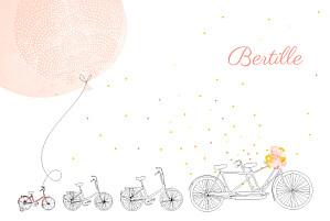Faire-part de naissance rouge à bicyclette (3 enfants) corail