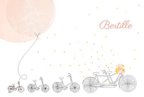 Faire-part de naissance À bicyclette (3 enfants) corail