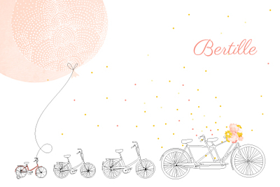 Faire-part de naissance À bicyclette (3 enfants) corail finition