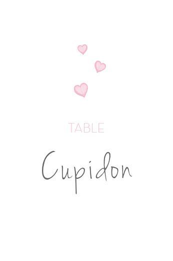 Marque-table mariage Coeurs gris clair et rose