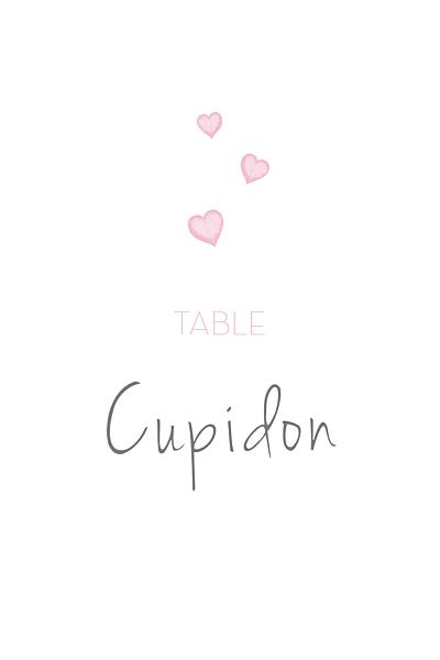 Marque-table mariage Coeurs gris clair et rose finition