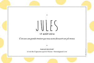 Faire-part de naissance Big dots photo jaune