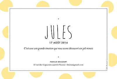 Faire-part de naissance Big dots photo jaune finition