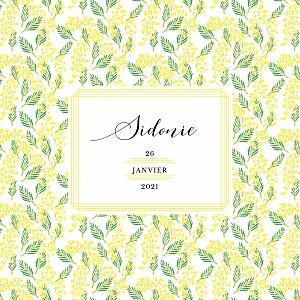 Faire-part de naissance classique mimosa photo jaune