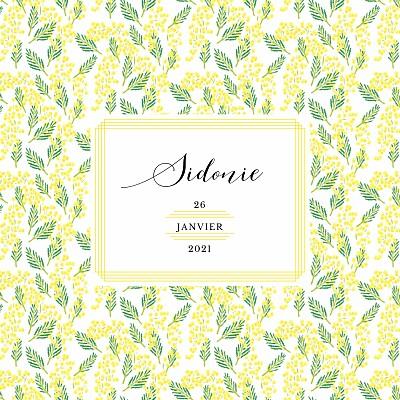 Faire-part de naissance Mimosa photo jaune finition