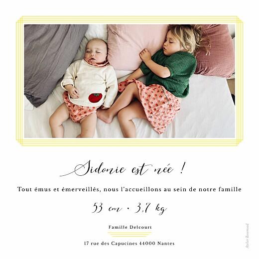 Faire-part de naissance Mimosa photo jaune