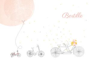 Faire-part de naissance À bicyclette (2 enfants) corail