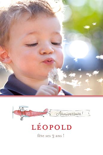 Carte d'anniversaire Avion rouge